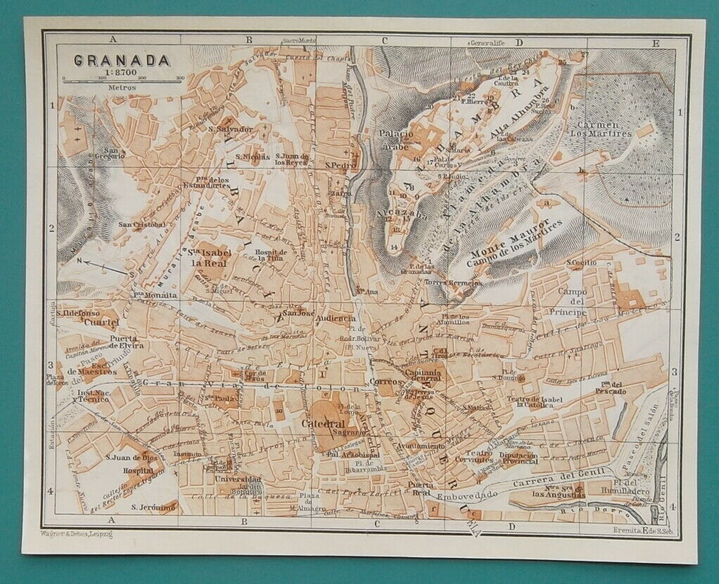 "Primary image for 1934 MAP 6 x 8"" (15 x 20 cm) - SPAIN Granada & Seville City Plans"