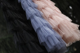 Pink Layered Tulle Midi Skirt High Waisted Layered Tulle Ruffle Skirt Custom image 10