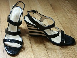 Kate Spade 7.5 B Strappy Patent Leather Black & White Stripe Wedge Italy - $43.70