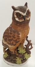 Vintage Wise Old Owl Tree Figurine Oak Acorn Perch Bisque Porcelain Esta... - $29.65