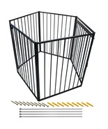 5 Panels Fireplace Baby Pet Safety Fence Gate Play yard Swing door Adjus... - $146.47