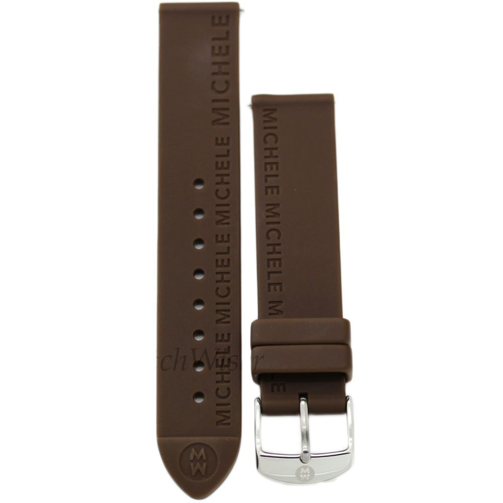 Primary image for Michele 16mm Chocolate Brown Rubber Strap MS16AI040737 Deco 16 Lilou Cloette