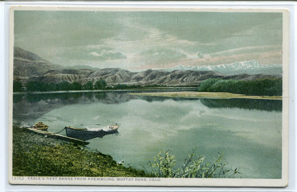 Eagle's Nest Range Lake from Kremmling Moffat Road Colorado Phostint postcard image 1