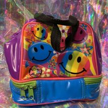 VINTAGE GUC Lisa Frank Smiley Face Smilies Insulated Lunch Tote Bag Mini Retro image 3