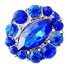 Silver Deep Royal Blue Rhinestone 20mm Snap Charm For Ginger Snaps Jewelry - $6.19