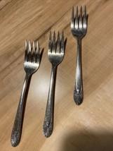 3 Crown Silverplate Salad Forks, 1939 Radiance  Stk#Y- - $11.30