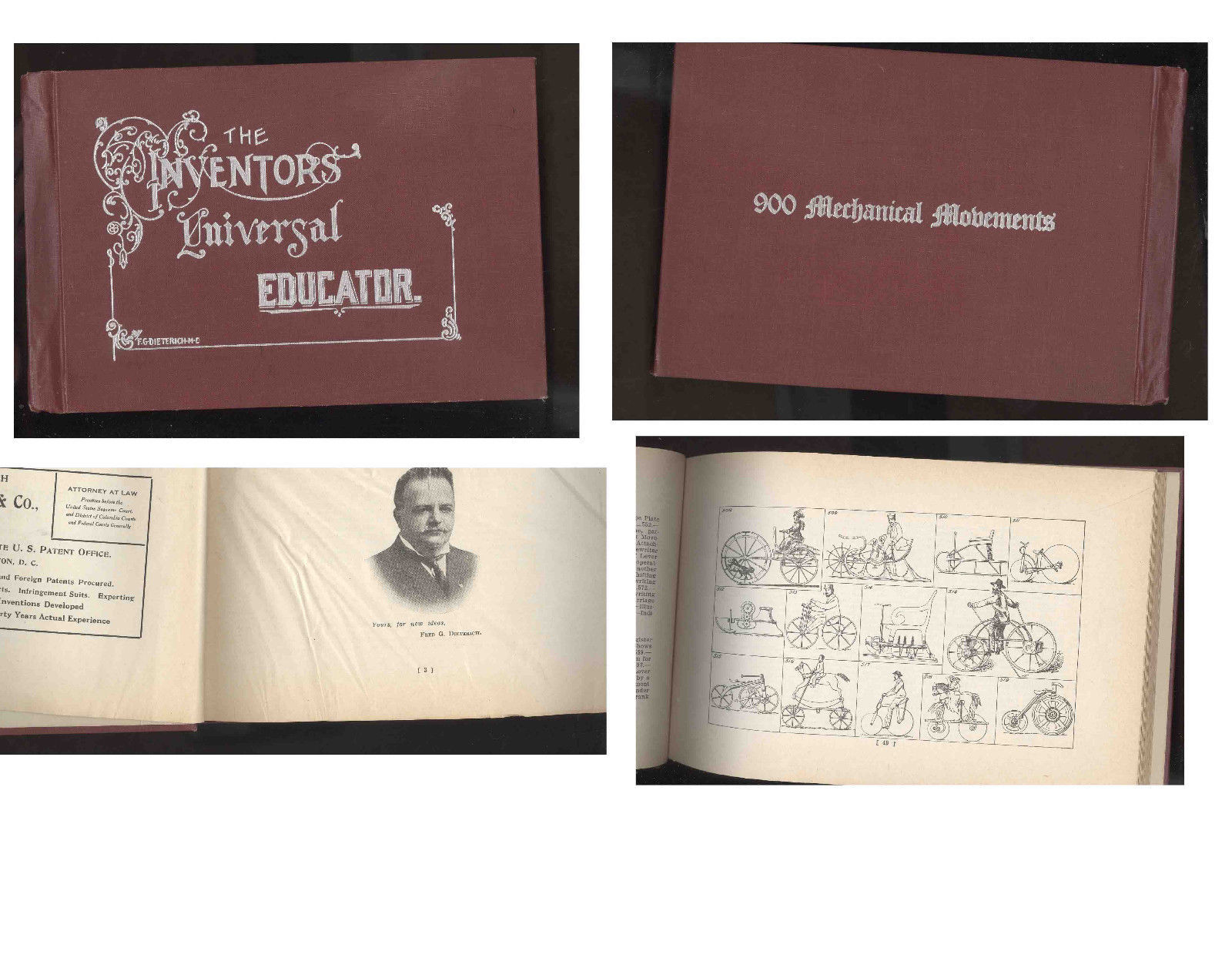ANTIQUE BOOK-THE INVENTORS UNIVERSAL  EDUCATOR-900 MECHANICAL MOVEMENTS