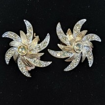 Vintage Sarah Coventry Earrings Crystal Starburst Christmas Evening Holiday - $19.00
