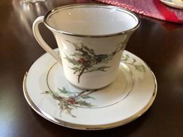 Gorham Flintridge Holly Berry Fine China Tea Coffee Cup & Saucer Set - $25.74