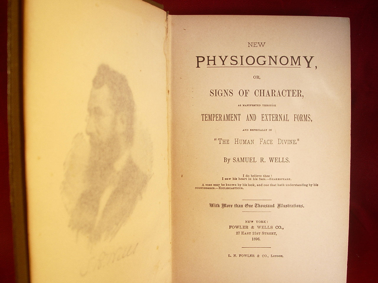 New Physiognomy or, Signs of Character by Samuel R. Wells 1896