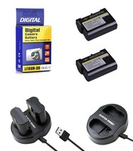 2 EN EL15 Batteries+Charger for Nikon DSLR D7200-D7100-D7000-D810-D800-D750-D610 - $24.99