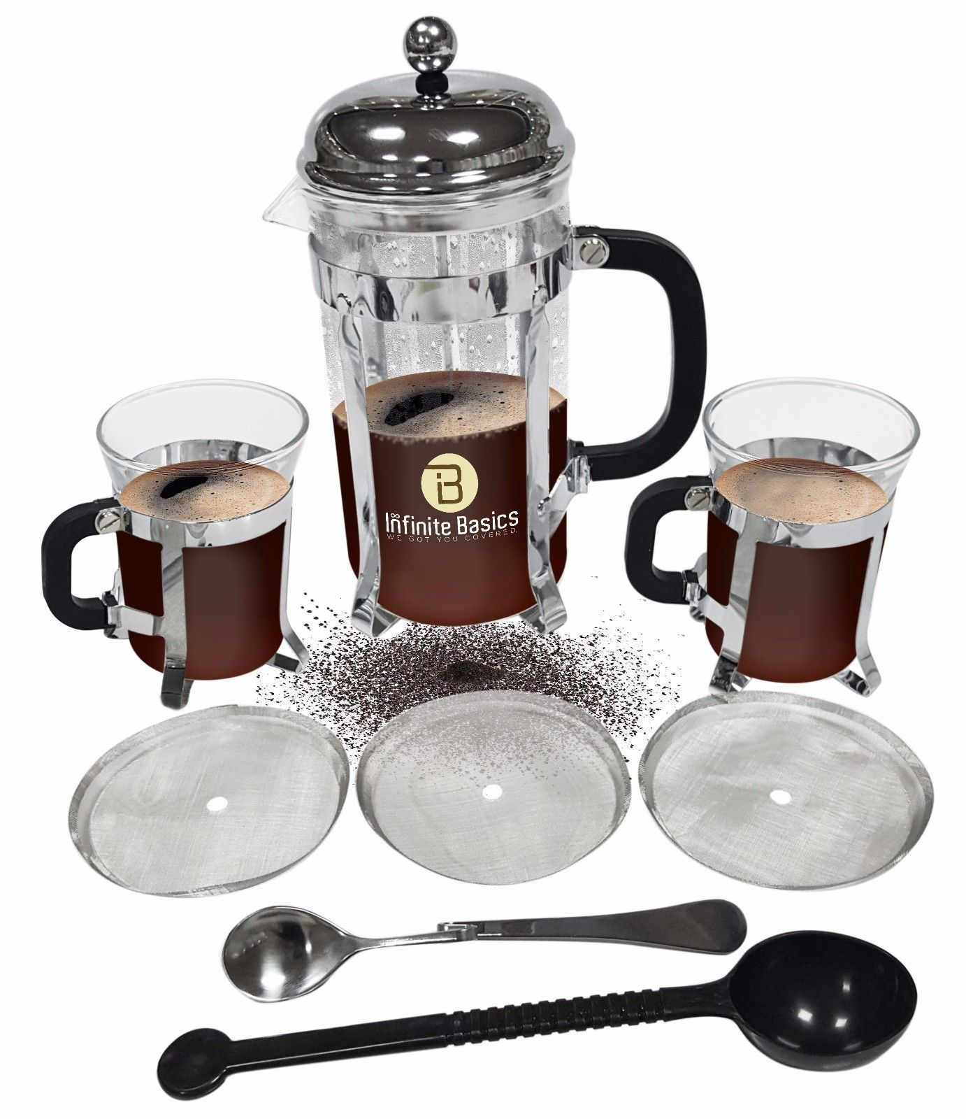 French Press 34oz Tea Coffee Maker Stainless Steel 2 Bonus Mugs, 6 Total Filters