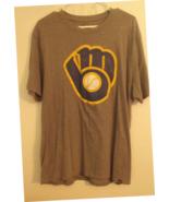 Mens 47 Gray Short Sleeve Milwaukee Brewers Baseball T Shirt Size XL - $14.95