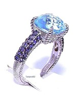 Judith Ripka 4.90ct Cushion Blue Topaz +Iolite Sterling Silver Ring- 8  ... - $235.00