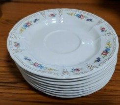 Nikko Supreme China Yellow Pink Purple Blue Floral  Rosette 11 Dessert Plates 8 - $16.73