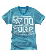 Official Zoo York PRACTICE TRUTH FEAR NOTHING Blue Graphic V-Neck Tee T-... - $14.98