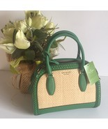Kate spade reiley straw satchel crossbody bag green - $3.238,40 MXN