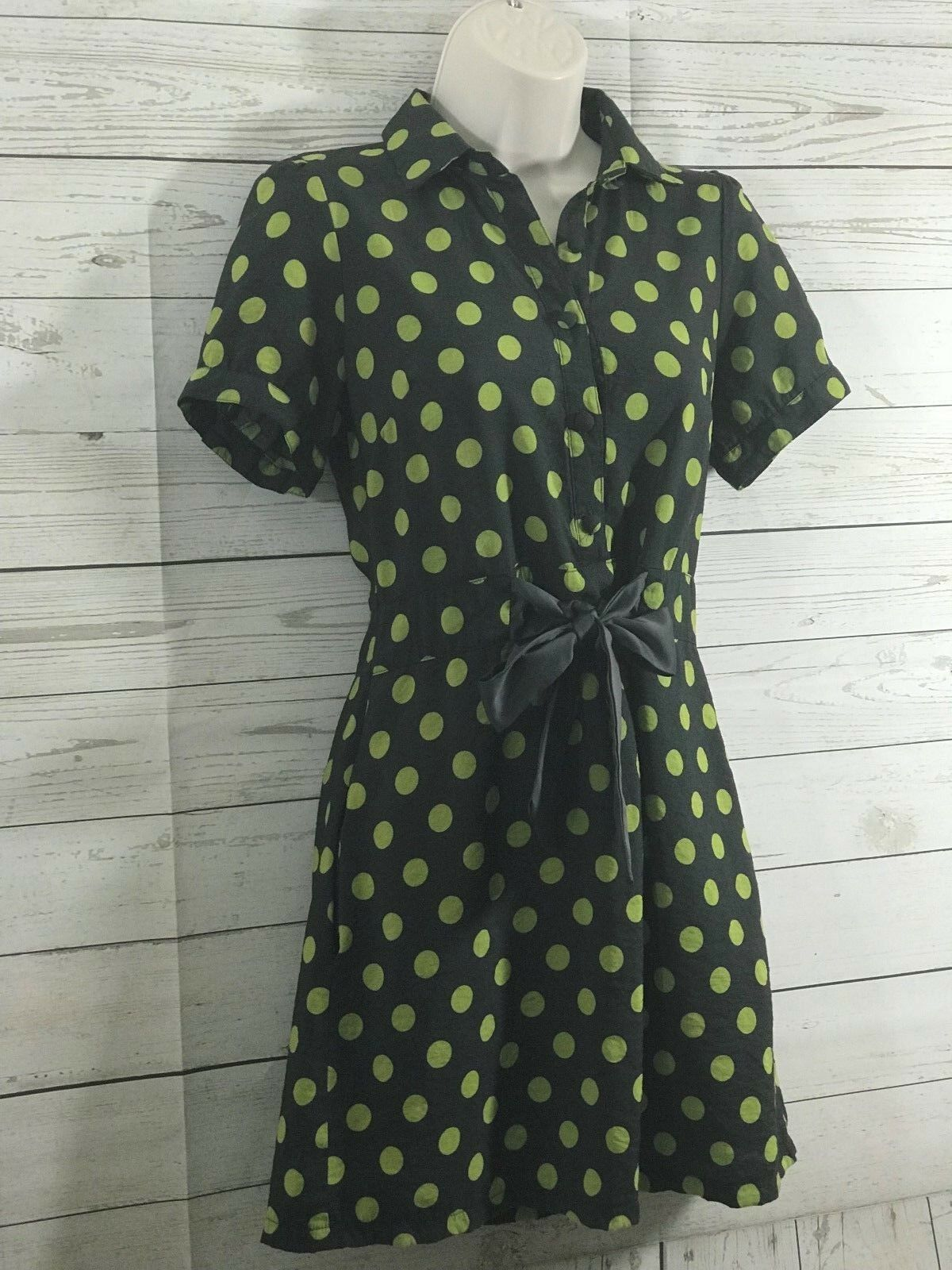 Forever 21 Womens Green Polka Dot Short Sleeve Summer Dress Size Small