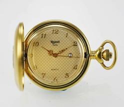 Majesti Swiss Pocket Watch Mens Beige Date Stainless Steel Gold Number Q... - $23.86