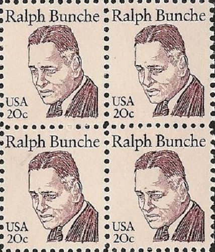 1982 Ralph Bunche Block of 4 US Postage Stamps Catalog Number 1860 MNH