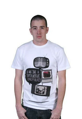 WeSC We Are The Superlative Conspiracy Bianco Uomo Television TV Noise Maglia NW