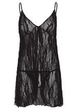 Leg Avenue Women's 2 PC. Romantic Lace Babydoll and Matching G-string Black 8782 image 2