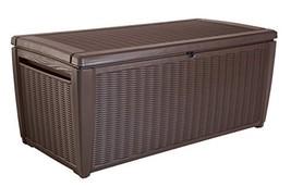 Keter Sumatra 135 gallon Outdoor Storage Rattan Deck Box, Brown - £154.59 GBP