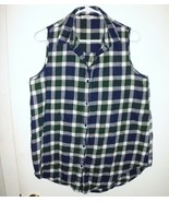 ELODIE Shirt X-LARGE Plaid Sleeveless Button Front Blue Green White Top ... - $23.75