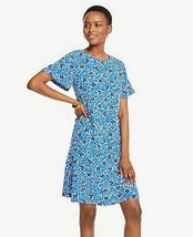 New Ann Taylor Blue Cluster Floral Short Sleeve Woven T-shirt Dress 2 4 ... - $49.99