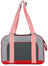 Candy Cane' Fashion Pet Carrier- Grey/Red - $36.11