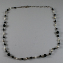 .925 SILVER RHODIUM NECKLACE WITH BLACK ONYX, WHITE AGATE AND SILVER SPHERES image 2