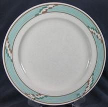 Mikasa Batik CAC44 Dinner Plate Intaglio Turquoise Bands White Backgroun... - $11.97