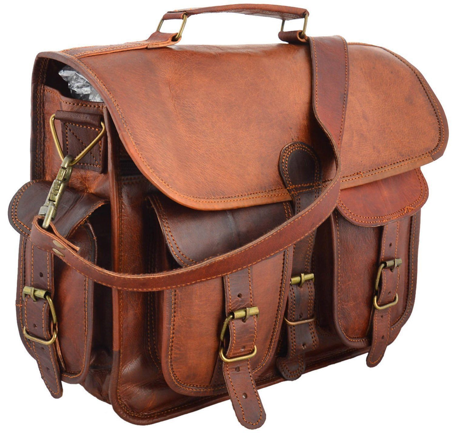 Men's New Genuine Vintage Brown Leather Messenger Shoulder Laptop Bag Briefcase
