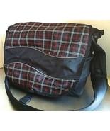 L L Bean Black/Red Plaid Campus Messenger Book Bag Laptop BACK TO SCHOOL... - $18.81