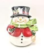 Winter Snowman Christmas Holiday Cookie Treat Jar 7.25 Inch Ceramic New - $28.70