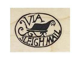 Jingle Bell and Via Sleigh Mail Rubber Stamps, Set of 2 image 3