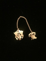 Vintage 40s WWII Quartermaster gold and enamel Sweetheart pins set with chain image 4