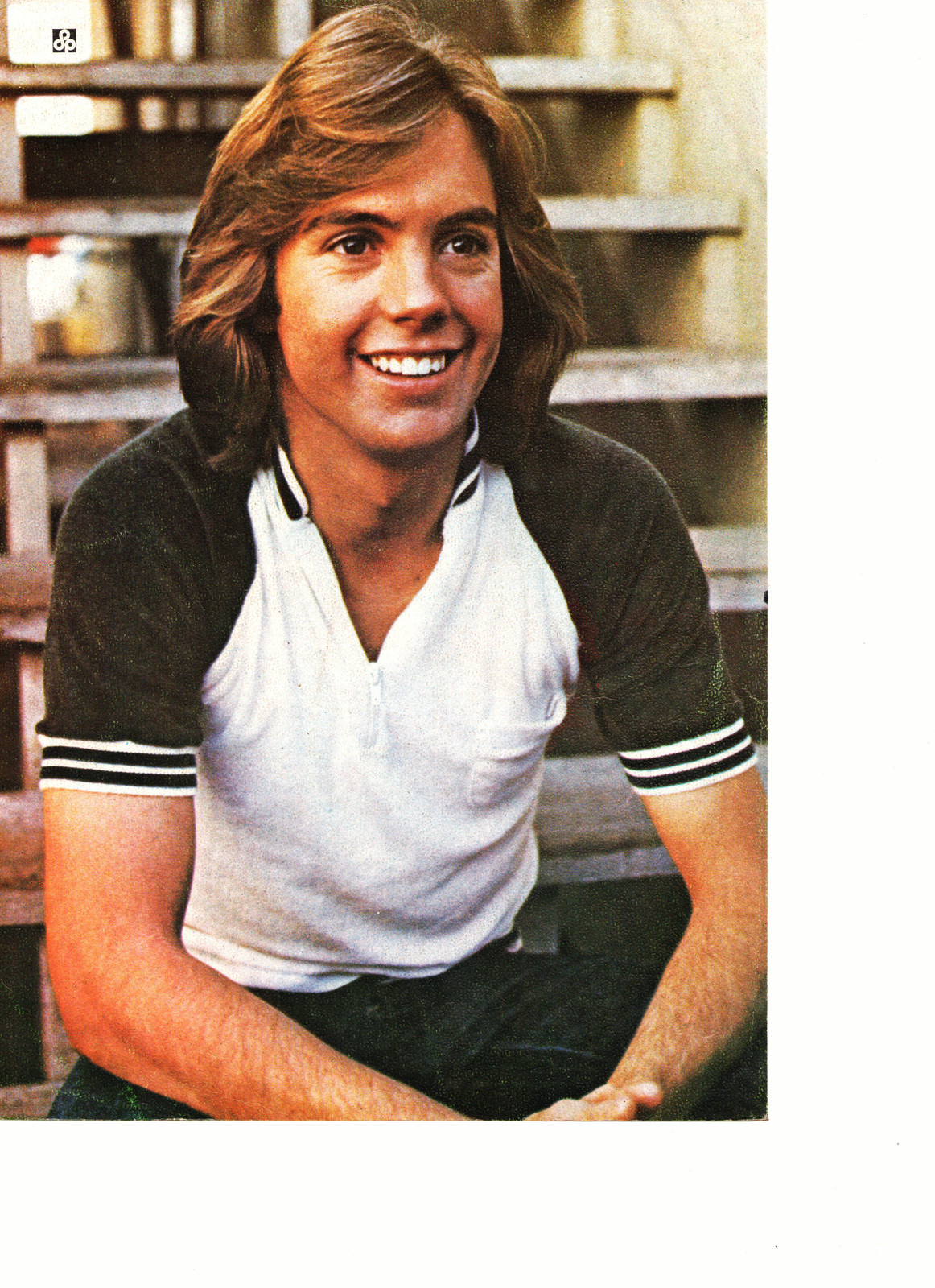 Shaun Cassidy teen magazine pinup clipping on the stairs 1970's Vintage Young