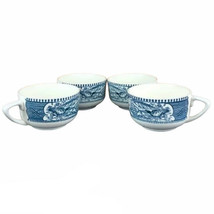 """Currier and Ives Blue and White """"Road Winter"""" Cup Set of 4 - $19.79"""