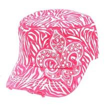 Zebra w/Fleur De Lis Print Rhinestone Adjustable Baseball Hat Cap Fuschia - $14.84