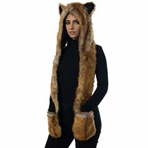 Fox Animal Hood Mittens Gloves Scarf Paws Prints and Ears, Furry Hoodie - $25.78