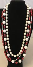 "Beautiful Signed MONET  Hard Plastic Bead Necklace 32"", 32"",30"" - $9.90"