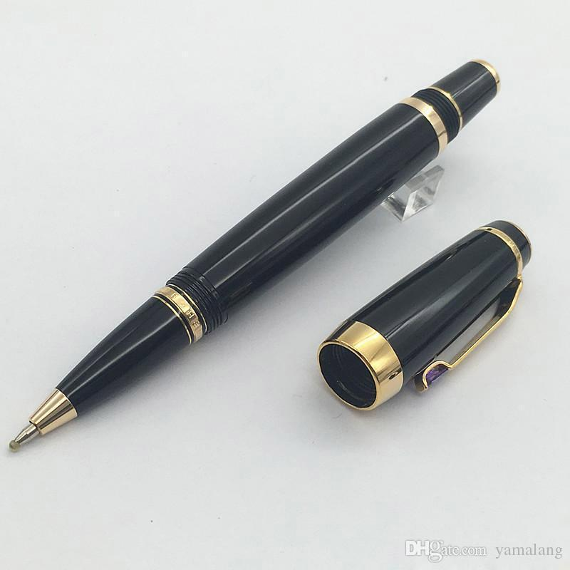 Free Shipping - black resin wholesale Roller ball pen novelty Design gold clip L