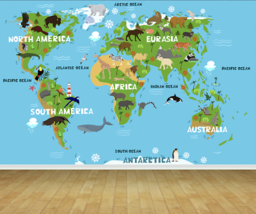 Childrens Map of the World Wall Art Mural Photo Wall Paper Self Adhesive Vinyl - $43.11+