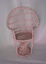 Novelty Pink Rattan Fan Peacock Chair 16 Inches Tall Plants Boho Home Decor - $12.19