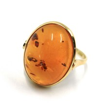 SOLID 18K YELLOW GOLD RING, BIG CABOCHON CENTRAL NATURAL OVAL AMBER 20X16mm image 1