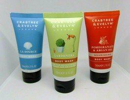 Lot Of 3 Crabtree & Evelyn Body Wash 1.7oz/50ml - $16.78