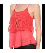 Miley and Molly Coral Lace & Chiffon Cami Top Blouse Small NWT - $21.00