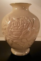 "Lenox Rose Vase Cream Porcelain Glossy Embossed  7"" Tall 24kt Gold Trim USA - $14.85"