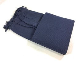 Wabe Waffel marineblau gewebte 100% Baumwolle mit Fransen Doppel Überwurf Decke - $40.40